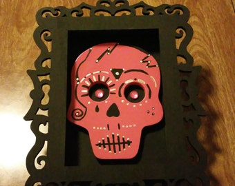 Pink Sugar Skull Mounted In A Black With Shadow Box