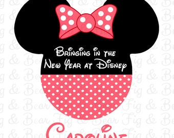 Disney New Year Girls Personalized Minnie Mouse T Shirt Iron On Transfer