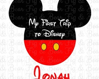 My First Trip to Disney Personalized Mickey Mouse Shirt Iron On Transfer Personalized Free for Boys