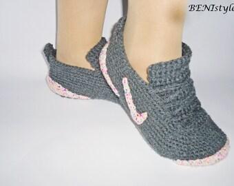 Crochet Women Shoes, Gray Sneakers, Converse Slippers, Adult Sneakers, Women Slippers, Women Sneakers , Crochet Women Shoes, Knit Slippers,