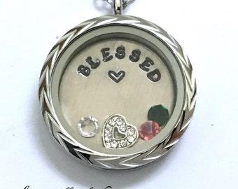 BLESSED - Floating Charm Locket - Memory Locket - Custom Hand Stamped Gift for Mom