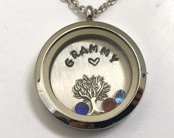 GRAMMY - Custom Floating Charm Locket - Memory Locket - Custom Hand Stamped Gift for Mom