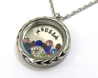 ABUELA - Floating Charm Memory Locket - Custom Hand Stamped Gift for Abuela or Abuelita