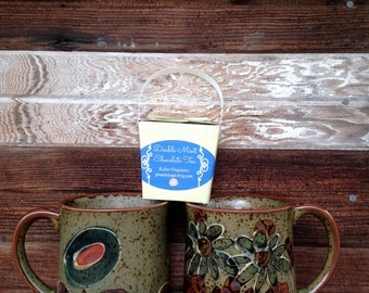 Vintage Set of Two Cups with Tea Sample Gift Set