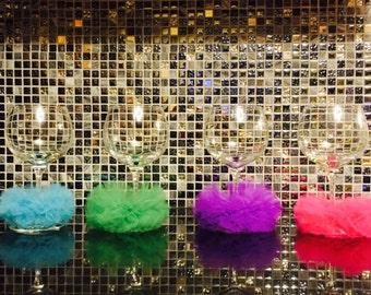 Teenie Belle Wine Glass Tutu  -  Customizable Colors! - Includes Organza Gift Bag!