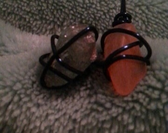 Wire Wrapped Carnelian and Apatite Pendant