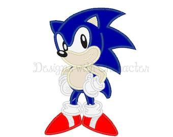 "Blue hedgehog applique machine embroidery design- 3 sizes 4x4"", 5x7"", 6x10"""