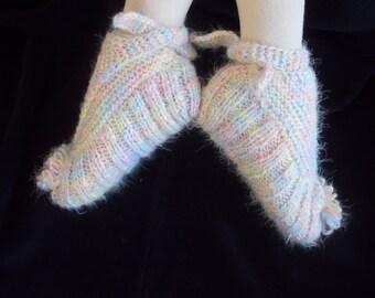 Knitted Slippers, Slippers, Japanese Slippers, Socks, Japanese Socks, Knit Slippers, Melange Slippers, Wool Slippers, Handmade socks