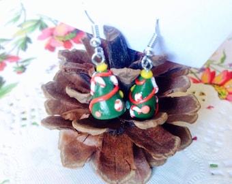 Mini christmas tree earring; cute polymer clay earring