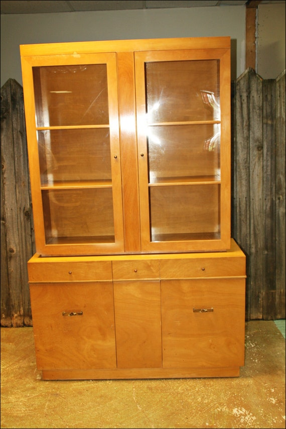 Mid century modern china cabinet hutch vtg by for Modern living room hutch