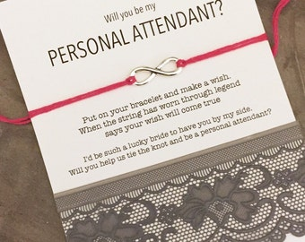 Will you be my personal attendant, Personal attendant, Personal attendant gift, Asking bridesmaids, Wish bracelet, Wishing bracelet, B3