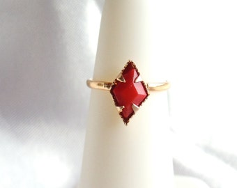 Red Faceted Glass Ring Size 2.5