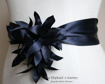 Navy Wedding Sash Flower Wedding Flower Sash, Bridal Flower Sash, Bridal Flower Sash, Bridal Floral Sash, Wedding Dress Flower Belt Flower