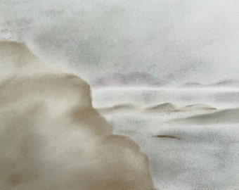 Greeting Card: Misty Hebridean Sea (North Uist from Lochbay, Isle of Skye) in soft greys, blues and whites