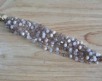 Brown Crystal Crochet Bracelet