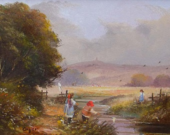 Ted Dyer Original Oil Painting Children Playing Near Glastonbury Tor Somerset