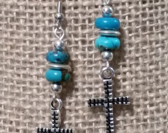 SALE - SALE - Turquoise Earrings, Turquoise Jewelry, Cross Earrings, Cross Jewelry, Rodeo Earrings, Rodeo Jewelry