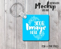 Square Keychain Mockup Template | Photoshop Mockup | Key Ring Template | Stock Photography
