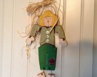 Wooden scarecrow door hanger