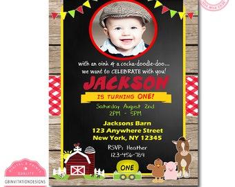 Printable Farm Birthday Invitation, Boy Farm Birthday Invitation, Farm Birthday Invitation Boy, Farm Birthday Invitation Girl