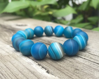 Blue Matte Striped Agate