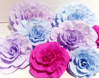 12 giant paper flowers Wall backdrop party pink lavender blue Mermaid under sea cake smash wedding dessert table decor baby shower birthday