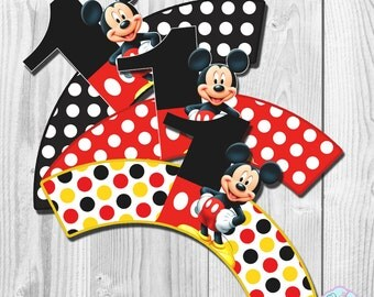 Mickey Mouse Cupcake Wrappers, Cupcake Liner, DIGITAL FILE, You Print