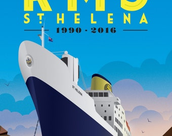 RMS St Helena Souvenir Poster