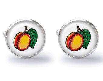 Peach Cufflinks - Peach Fruit Cuff Links - Peaches Cuff Links (Pair) Lifetime Guarantee