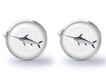 Swordfish Cufflinks - Swordfish Cuff Links - Fish Cufflinks  (Pair) Lifetime Guarantee