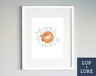"Kids Nursery Print | Illustrated Print | Neutral Art | Orange | Fox | Baby | Woodland Nursery | ""Foxy Baby"""