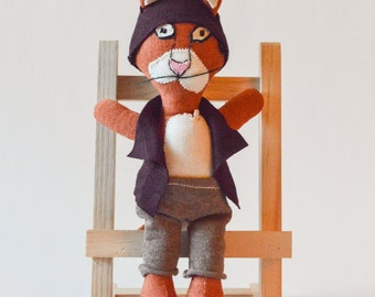Hipster cat stuffed animal soft toy, cat doll