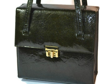 Mid Century Pocketbook, Patent Leather, Shiny Brown, Patent, Purse,  Vintage Purse