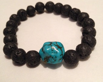 Natural Lava and Turquoise Stretch