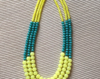 Teal & Yellow three-strand necklace