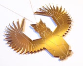 Egyptian Gold Mirror Winged Cat Necklace, Laser Cut Acrylic, Futuristic Jewelry, Geometric Necklace, Statement Necklace