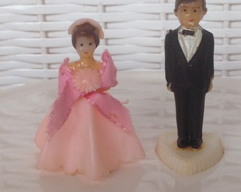Pair Vintage Wedding Cake Toppers - Tiny Bride Groom Wedding Party