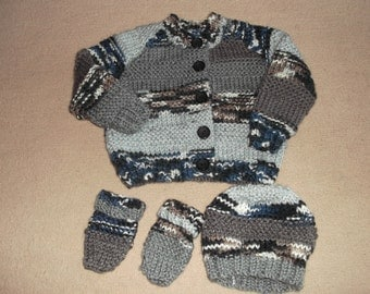 chunky handknitted cardigan with hat and mittens