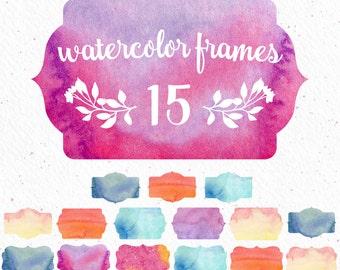 Watercolor Frames, frame clipart, watercolor clipart, blog clip art, website clipart, digital clipart, banner clipart, invitation watercolor