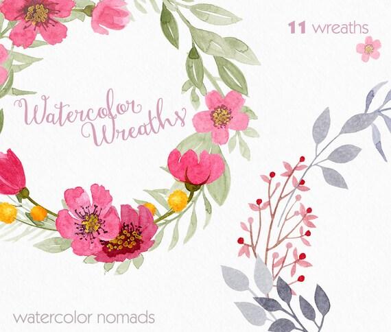 Couronne florale clipart clipart aquarelle mariage clipart - Clipart couronne ...