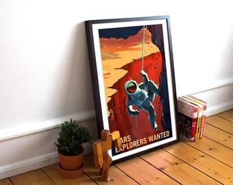 NASA Mars travel recruitment poster - Mars Explorers wanted