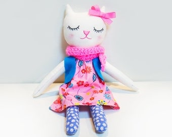 Girl Cat Handmade Cloth Doll, Whimsical Cotton Doll, Rag Doll, Gift for Her, Soft Cat Plush, Girls Room Decor, Kids Cat Toy, Kitten Plushie