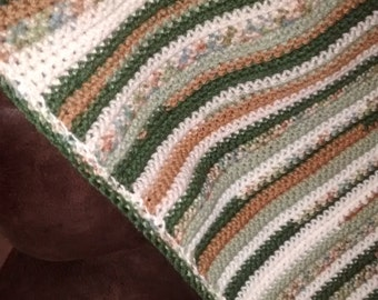 Crocheted Camo Striped Afghan