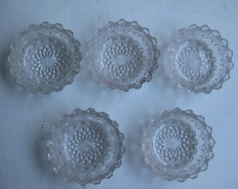 5 Vintage Salt Cellar Dishes Clear Unusual  Pressed Glass Scalloped Top Child's Dishes