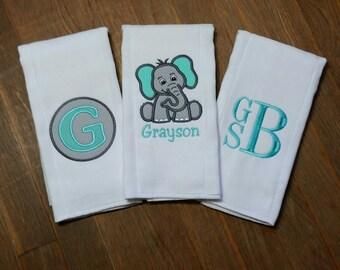 Personalized Burp Cloth Set- Personalized Baby Boy Elephant Burp Cloth Set - Gray and Teal Elephant Burp Cloth- Safari-Baby Shower Gift