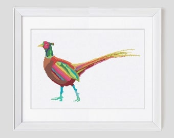 Cross stitch pattern, pheasant counted cross stitch pattern, modern pheasant cross stitch pattern, easy to stitch pdf download