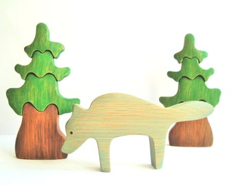 Wolf - Waldorf toy - Animal toy - Wooden toy - Waldorf nature table - Toy figurines - Handmade - Eco Friendly- Birthday gift