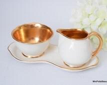 Shinning Gold and Cream Luster Crown Devon Creamer & Sugar Bowl Set, c 1930s