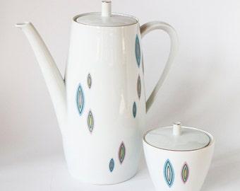 Coffee Pot + Lidded Sugar Bowl Set 50s Design Pastel Colors Gilded Porcelain