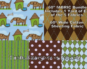 "Bulk Fabric Bundle Boy Dog 60"" Cotton Sheeting Fabric - 1 Yard Ea of FIVE 60"" Wide Cotton Sheeting"
